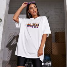 Letter Graphic Oversized Longline Tee