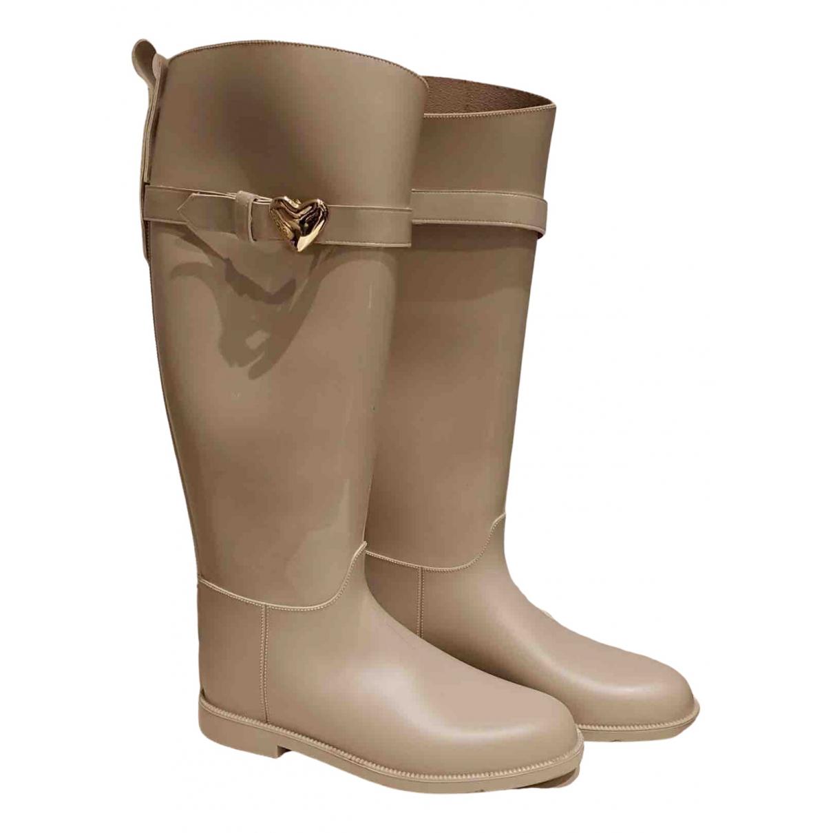 Moschino Love N Beige Rubber Boots for Women 38 EU