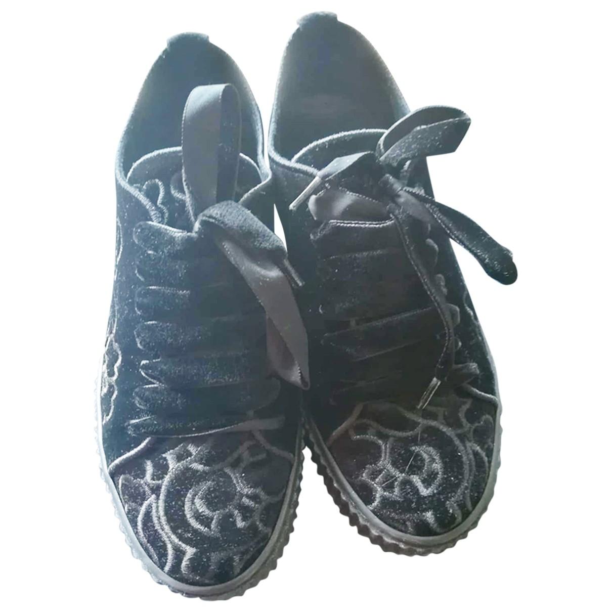 Pinko - Baskets   pour femme en velours - noir