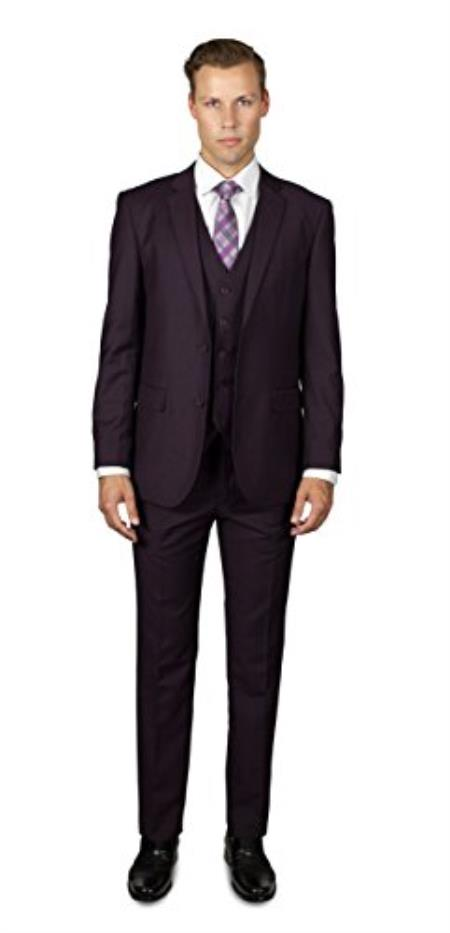 Mens 2 Button Wine Three Piece TR Blend Suit