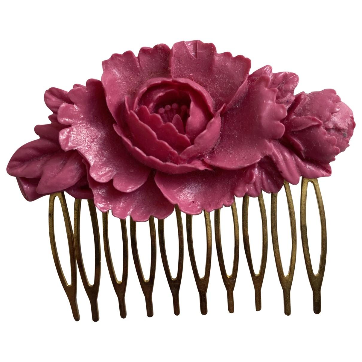 Non Signe / Unsigned Motifs Floraux Haarschmuck in  Rosa Metall