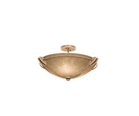 Grande 4848MG/ART 22 Semi Flush Mount Ceiling Light in Modern Gold with Art Nouveau Natural Bowl Glass