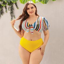 Plus Colorful Stripe Knot Front Bikini Swimsuit