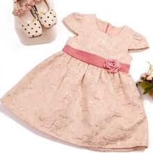 Jacquard Kleid mit Band hinten und Blumen Muster