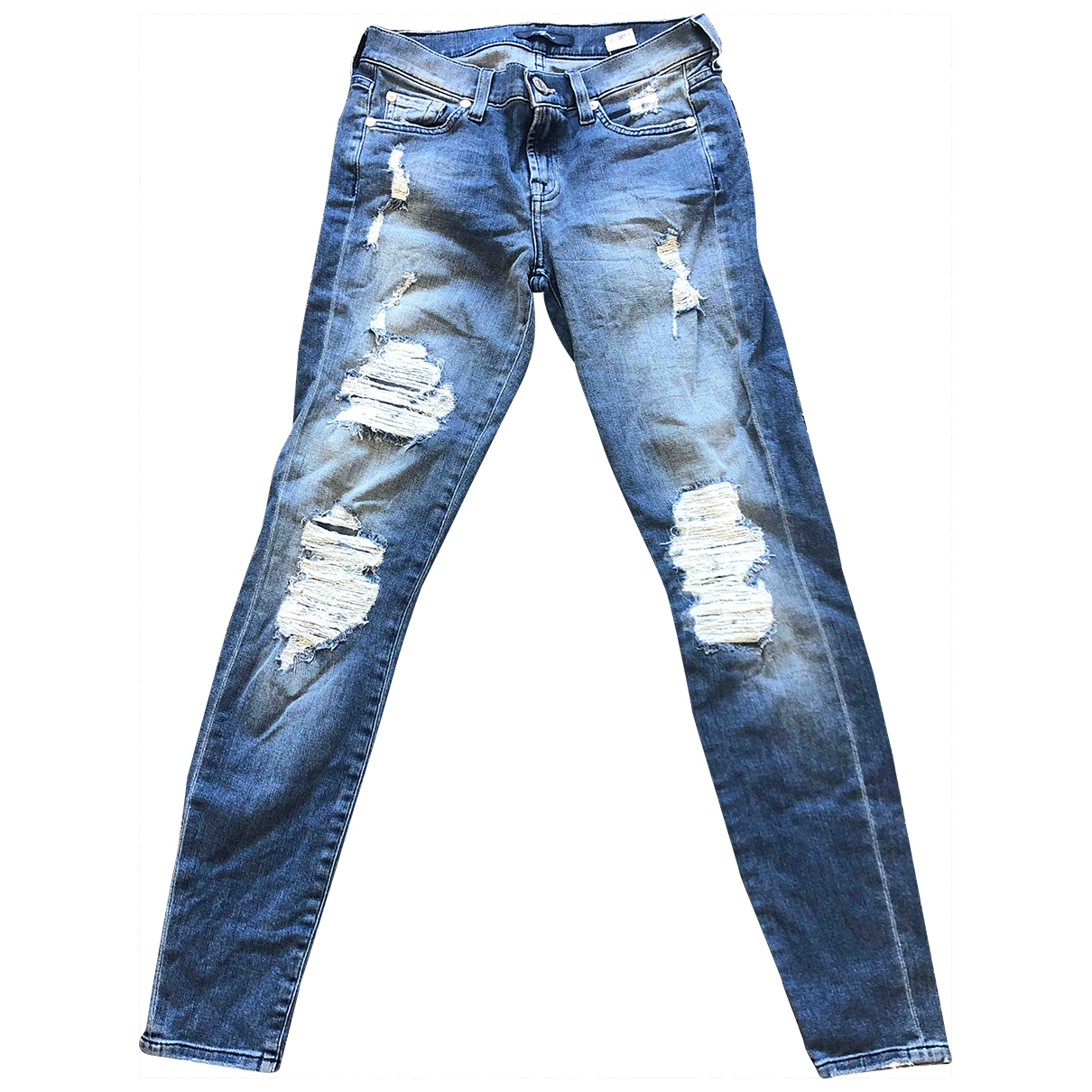 7 For All Mankind \N Blue Cotton - elasthane Jeans for Women 26 US