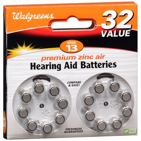 Walgreens Premium Zinc Air Hearing Aid Batteries 13 - 32.0 ea