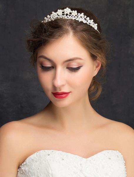 Milanoo Wedding Hair Headband Silver Imitation Pearls Rhinestones Alloy Bridal Hair Accessories