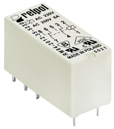Relpol , 5V dc Coil Non-Latching Relay DPDT, 8A Switching Current PCB Mount, 2 Pole