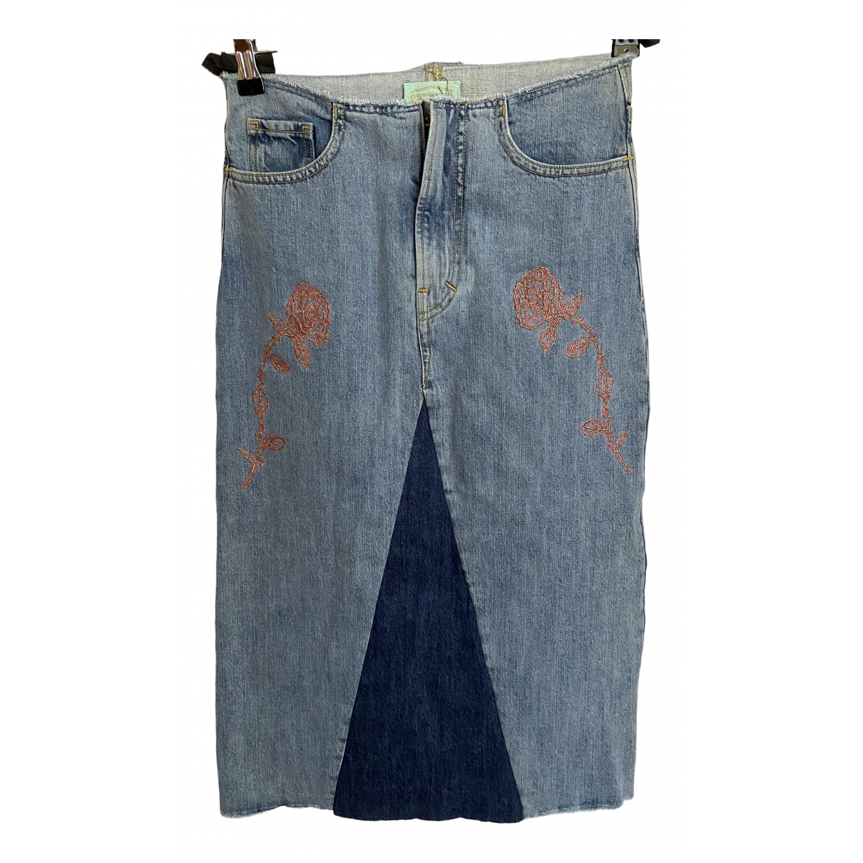 Aries \N Blue Denim - Jeans skirt for Women S International