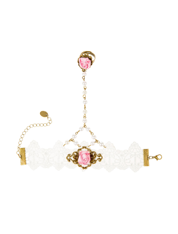 Kostuemzubehor Handkette mit Perlen rosa/weiss