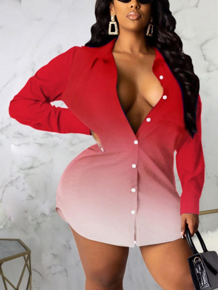 LW Lovely Sweet Gradient Button Design Red Mini Shirt Plus Size Dress