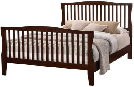 Riggins Collection CM7070Q-BED Queen Size Panel Bed with Slatted Design  Curved Edges  Tapered Legs  Solid Wood and Wood Veneer Construction in Brown