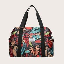 Leaf Graphic Barrel Bag