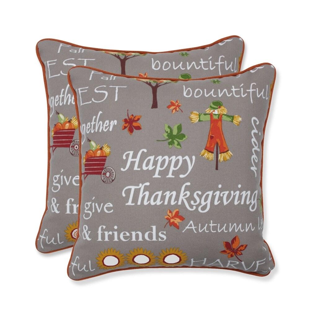 Autumn Harvest Haystack Indoor/Outdoor Throw Pillow (Set of 2) - 16.5 X 16.5 (16.5 X 16.5 - Grey)