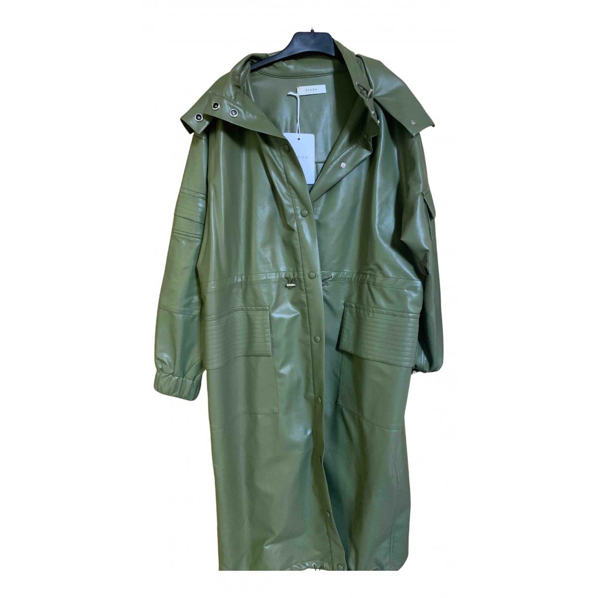 Aeron - Manteau   pour femme en cuir - kaki