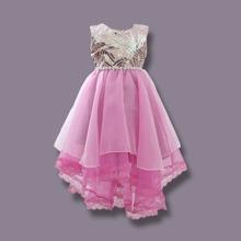 Party Kleid mit Kontrast, Pailletten und asymmetrischem Saum