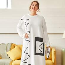 Drop Shoulder Maxi Kleid mit Grafik Muster