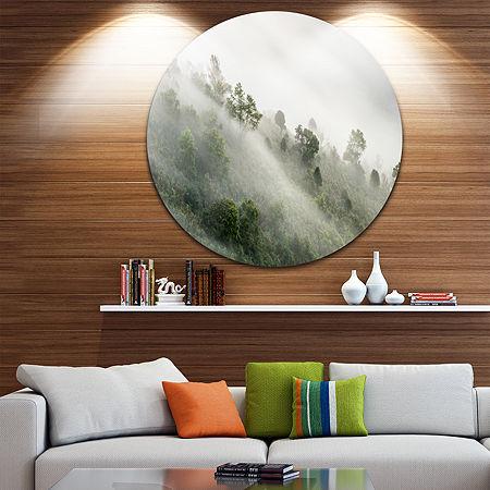 Design Art Mystical Foggy Mountain Slope Ultra Vibrant Landscape Oversized Circle Wall Art, One Size , Green
