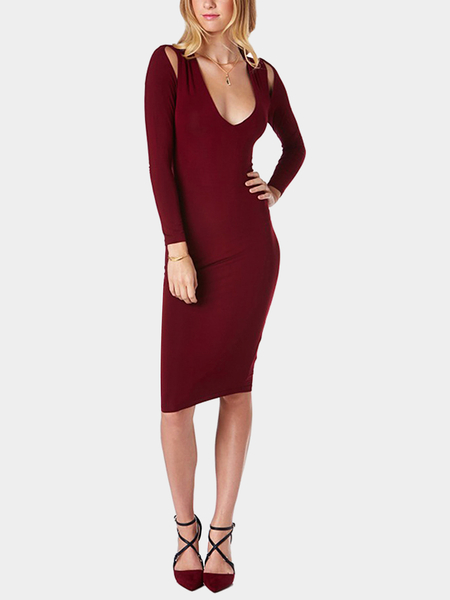 Yoins Burgundy V Neck Midi Dress with Cut Out Detail