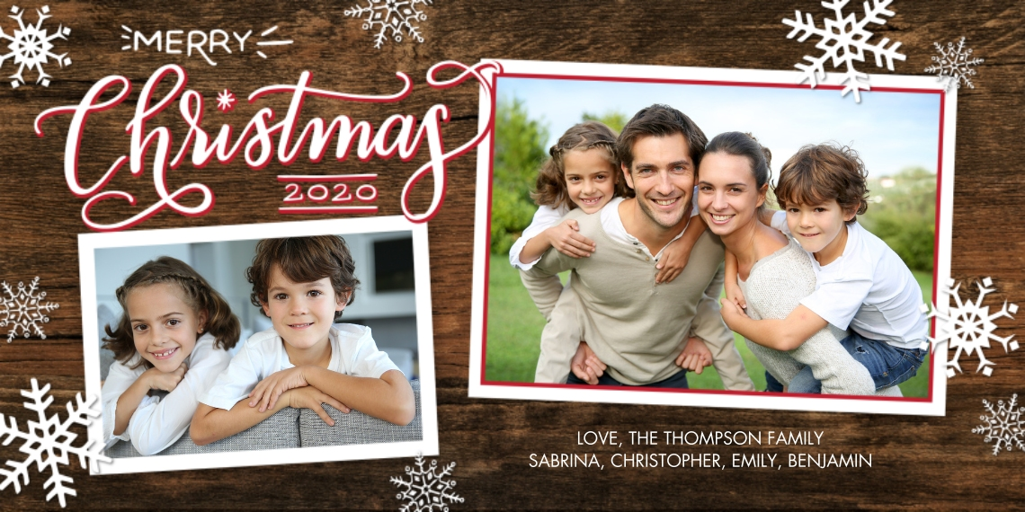 Christmas Photo Cards Flat Glossy Photo Paper Cards with Envelopes, 4x8, Card & Stationery -2020 Christmas Rustic Frames by Tumbalina