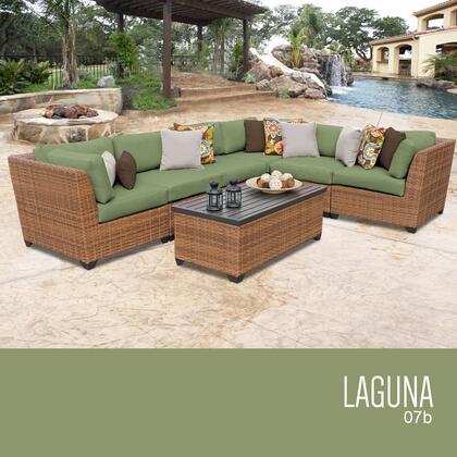 LAGUNA-07b-CILANTRO Laguna 7 Piece Outdoor Wicker Patio Furniture Set 07b with 2 Covers: Wheat and