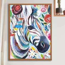DIY Diamand Malerei mit Zebra Muster ohne Rahmen