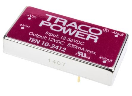TRACOPOWER TEN 10 10W Isolated DC-DC Converter Through Hole, Voltage in 18 → 36 V dc, Voltage out 12V dc