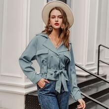 Double Button Belted Jacket