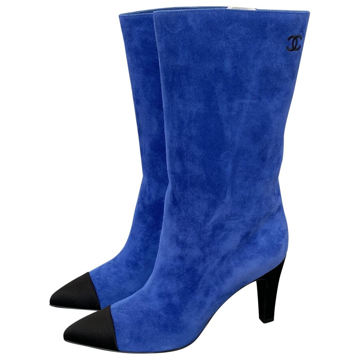 Chanel - Boots   pour femme en suede - bleu