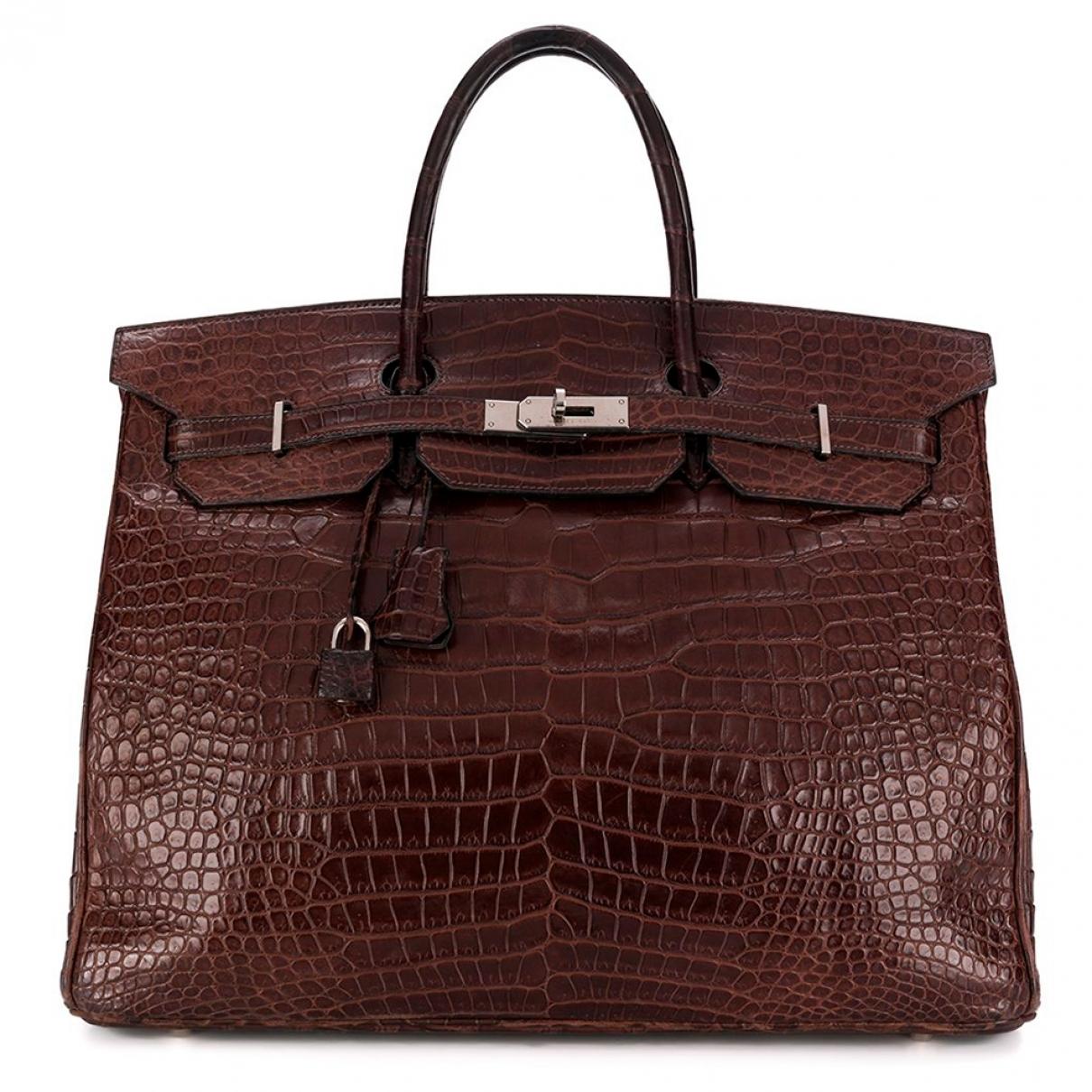 Hermes Birkin 40 Handtasche in  Braun Exotenleder