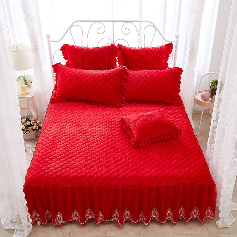 Square Geometric Pattern Solid Color Princess Style Crystal Velvet Bed Skirt