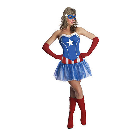 Avengers Adult American Dream 4-pc.Dress Up Costume Womens, X-small , Blue