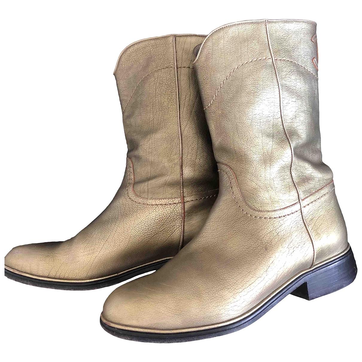 Chanel - Boots   pour femme en cuir - dore