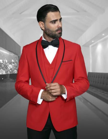 Mens Red Fashion Tux by STATEMENT