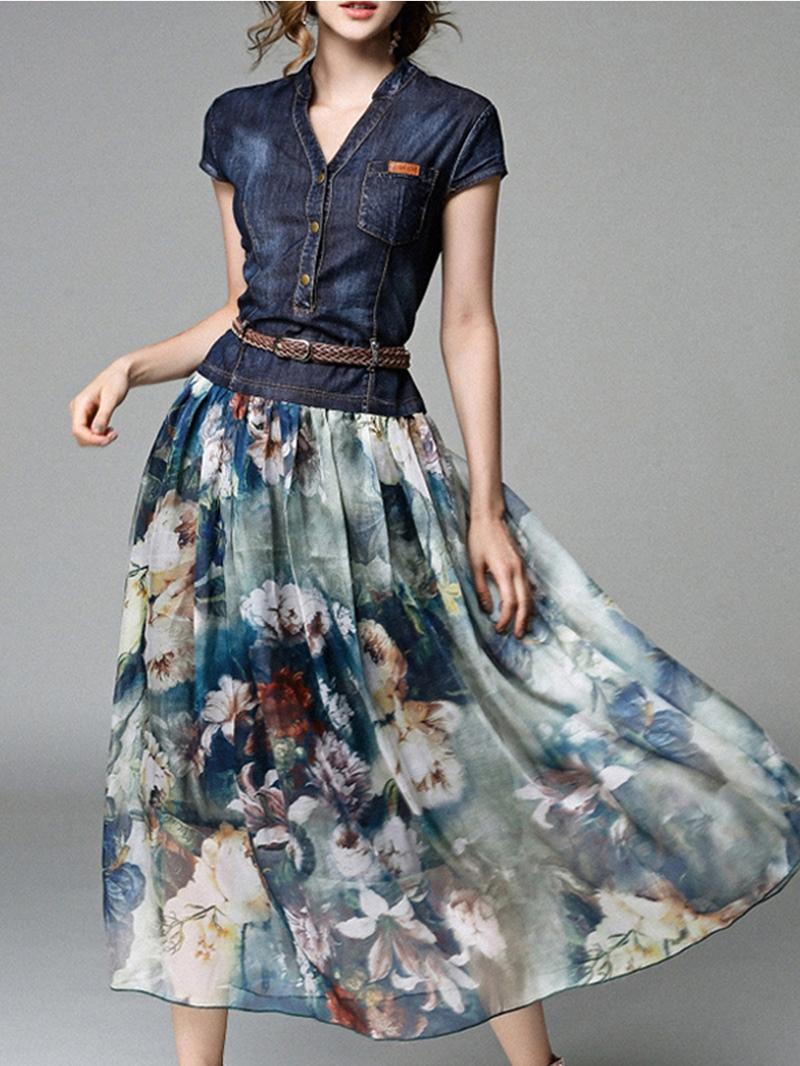 Ericdress Chiffon V-Neck Travel Look Women's Maxi Dress