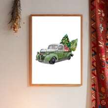 Christmas Car Print Wall Painting Without Frame