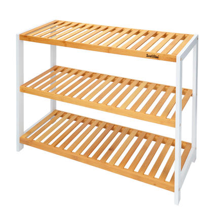 Bamboo Shoe Rack Organizer With 3 Shelves 70 x 55 x 25 cm For 12 Pairs Shoes Storage - SortWise™