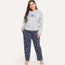 Plus Feather & Letter Graphic Pajama Set