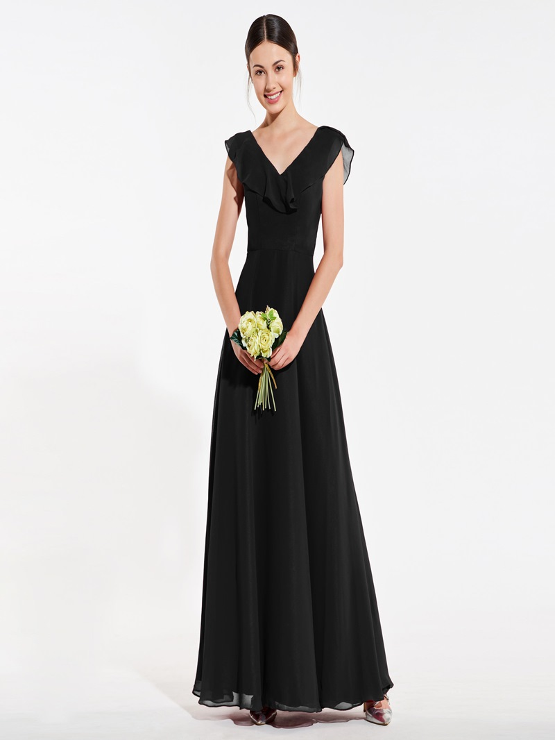 Ericdress A Line V Neck Low Back Bridesmaid Dress
