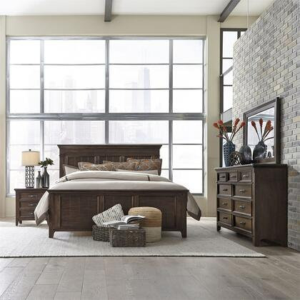 Liberty Furniture 184-BR-KPBDMN 4 Piece Bedroom Set with King Size Storage Bed  Dresser and Mirror  Nightstand in Tobacco