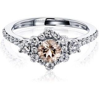 Annello by Kobelli 14K Gold Morganite Starry Floral Engagement Ring (HI/I) (6 - White)
