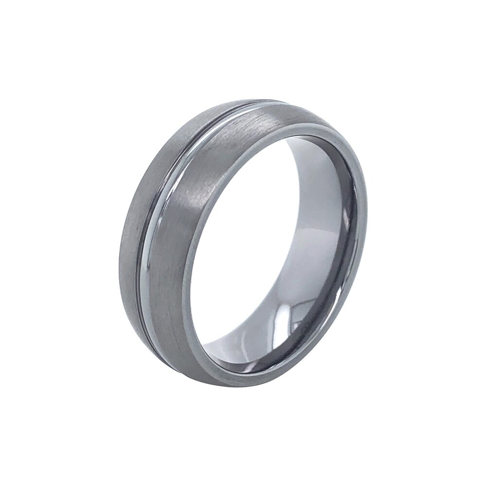 Tantalum 7mm Brushed Low-Dome Men's Comfort-Fit Wedding Band Ring with High-Polish Center Stripe (10)