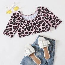 Leopard Tee Bikini Top