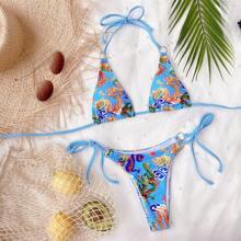 Chinese Dragon Print Triangle Tie Side Bikini Swimsuit