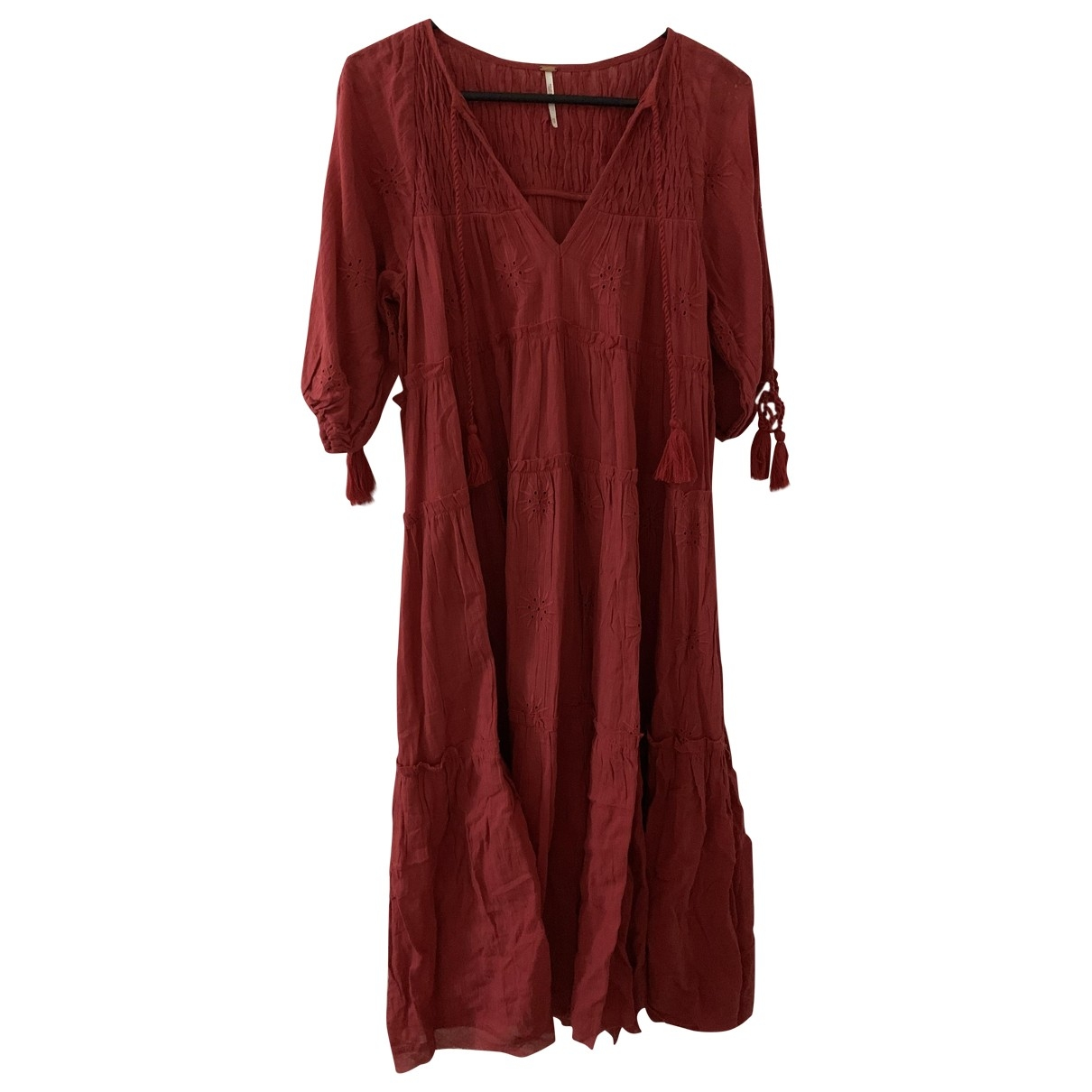 Free People \N Red Cotton dress for Women XS International