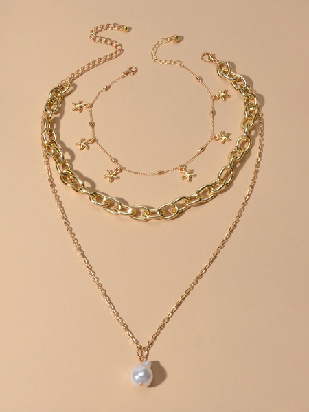 Milanoo Gold Jewelry Sets 2 Piece Layered Chain Necklace With Bracelet