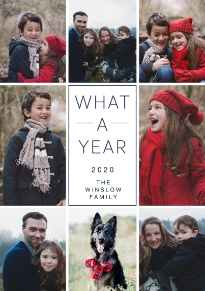 New Year's Photo Cards 5x7 Cards, Premium Cardstock 120lb with Scalloped Corners, Card & Stationery -2020 What a Year Photo Collage by Hallmark