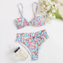 Floral & Rainbow Stripe High Waist Bikini Swimsuit