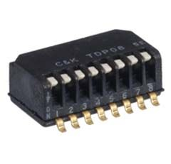 C & K 2 Way Surface Mount Piano Dip Switch SPST, Piano, Raised Actuator