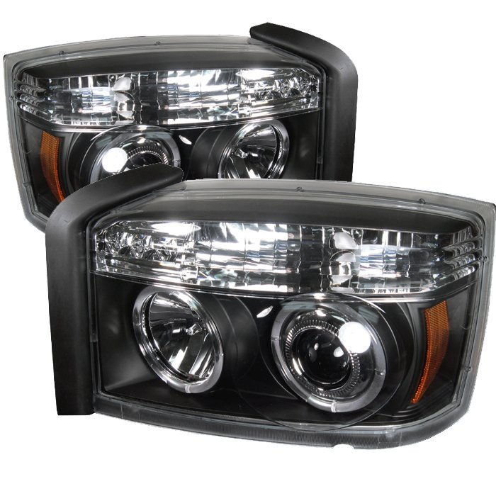 Spyder Halo LED Black Projector HeadLights Dodge Dakota 05-07